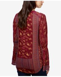 Lucky Brand - Red Mixed-print Peasant Top - Lyst