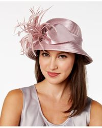 August Accessories - Pink Satin-striped Feather & Bow Cloche - Lyst