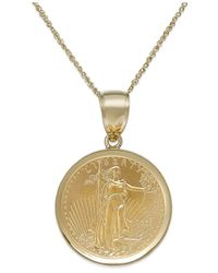 Macy's Metallic Genuine Eagle Coin Pendant Necklace In 22k And 14k Gold