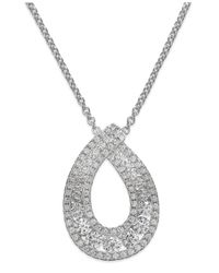 Macy's Metallic Arabella Swarovski Zirconia Pendant Necklace In Sterling Silver (1-1/4 Ct. T.w.)
