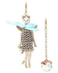 Betsey Johnson - Blue Two-tone Multi-stone Mesh Cat & Heart Mismatch Earrings - Lyst