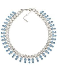 Carolee - Silver-tone Blue & Clear Crystal Collar Necklace - Lyst