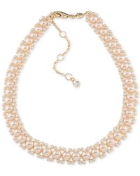 Carolee - Gold-tone Imitation Pink Pearl Woven Collar Necklace - Lyst