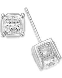 Macy's - Metallic Diamond (1 Ct. T.w.) Spiral Bezel Stud Earrings In 14k Yellow Or White Gold - Lyst