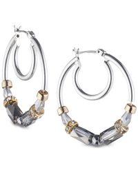 Nine West - Metallic Tri-tone Beaded Hoop Earrings - Lyst