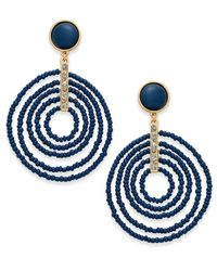INC International Concepts - Blue Gold-tone Beaded Spiral Orbital Drop Earrings - Lyst