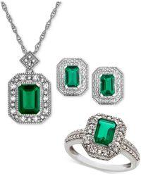 Macy's Metallic Lab Created Emerald (2-3/8 Ct. T.w.) & White Sapphire (1/4 Ct. T.w.) Pendant Necklace