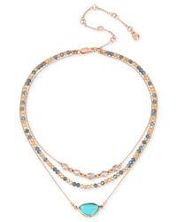 Kenneth Cole | Metallic Gold-tone Multi-stone & Bead Triple-row Choker Necklace | Lyst