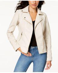 Guess Faux-fur-collar Faux-leather Moto Jacket in Bone ...