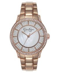 Jessica Simpson Pink Crystal Encrusted Rose Gold Plated Bracelet Watch 36mm