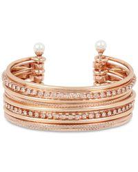 BCBGeneration Metallic Bcbg Crystal & Imitation Pearl Multi-row Cuff Bracelet