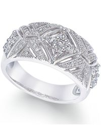 Macy's - Metallic Diamond Vintage-inspired Ring In Sterling Silver (1/2 Ct. T.w.) - Lyst