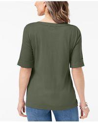 Karen Scott - Green Cuffed Boat-neck Top, Created For Macy's - Lyst