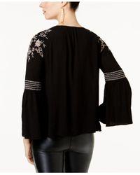 INC International Concepts - Black Embellished Peasant Top - Lyst