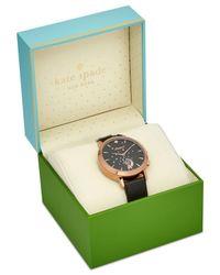 Kate Spade | Women's Hybrid Metro Grand Black Leather Strap Smart Watch 39mm Kst23100 | Lyst