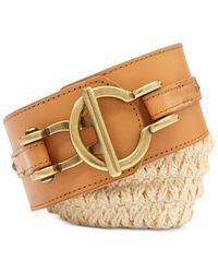 Fossil - Natural Macramé Leather Stretch Belt - Lyst