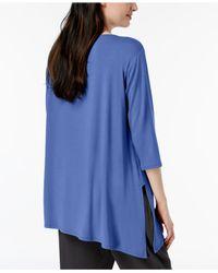 Eileen Fisher Blue Stretch Jersey Asymmetrical-hem Tunic, Regular & Petite