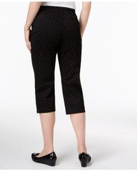 Karen Scott Black Petite Dot-print Capri Pants, Created For Macy's