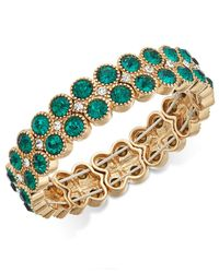 Charter Club - Metallic Gold-tone Green Stone Double-row Stretch Bracelet - Lyst