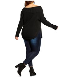 City Chic Black Trendy Plus Size Scoop Me Up Off-the-shoulder Sweater
