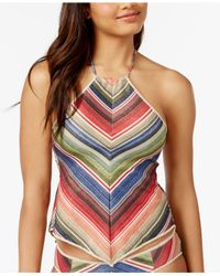 Becca - Multicolor West Village Sparkly Open-back Halter Tankini Top - Lyst