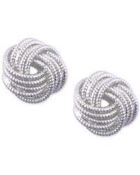 Nine West - Metallic Silver-tone Love Knot Stud Earrings - Lyst