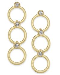 Kate Spade Metallic 14k Gold-plated Crystal & Circle Triple Drop Earrings