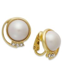 Charter Club - Metallic 14k Gold-plated Plastic Pearl Dome Earrings - Lyst