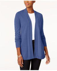 Karen Scott Blue Open-front Cardigan, Created For Macy's
