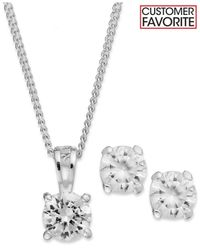 Charter Club | Metallic Silver-tone Clear Round Pendant Necklace And Stud Earrings Jewelry Set | Lyst