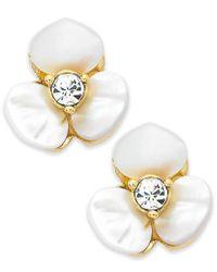 kate spade new york - White Earrings, Gold-tone Cream Disco Pansy Flower Stud Earrings - Lyst