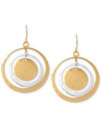 Robert Lee Morris | Metallic Earrings, Two-tone Hammered Circle Orbital Earrings | Lyst