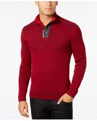 INC International Concepts | Red Men's Quarter-zip & Button Ribbed Sweater, Only At Macy's for Men | Lyst