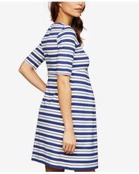 Isabella Oliver Blue Maternity Striped Dress