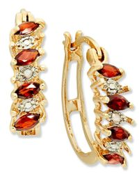 Macy's | Metallic Victoria Townsend 18k Gold Over Sterling Silver Earrings, Garnet (3/4 Ct. T.w.) And Diamond Accent Hoop Earrings | Lyst