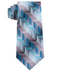 Van Heusen Blue Ombre Zigzag Silk Tie for men