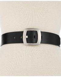 Calvin Klein | Black Leather Pant Belt With Centerbar Buckle | Lyst