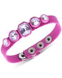 DKNY - Purple Hematite-tone & Black Rubber Gray Stone Nylon Snap Bracelet - Lyst