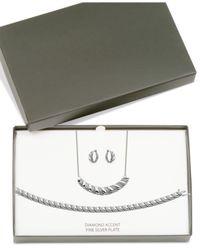 Macy's - Metallic Diamond Accent Twist Hoop Earrings, Collar Necklace And Link Bracelet Set In Silver-plate - Lyst