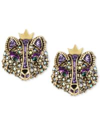 Betsey Johnson | Multicolor Gold-tone Crystal Fox Stud Earrings | Lyst