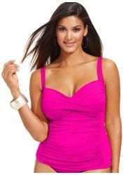 La Blanca | Pink Plus Size Twist-front Ruched Tankini Top | Lyst
