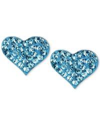 Betsey Johnson | Metallic Silver-tone Heart Blue Crystal Stud Earrings | Lyst