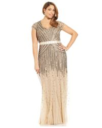 Adrianna Papell - Metallic Plus Size Cap-sleeve Beaded Sequined Gown - Lyst