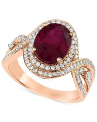 Effy Collection - Multicolor Rosa By Effy Ruby (2-7/8 Ct. T.w.) And Diamond (1/2 Ct. T.w.) Oval Ring In 14k Rose Gold - Lyst