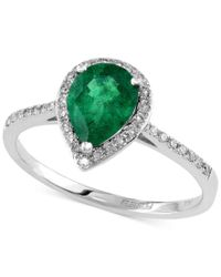 Effy Collection | Green Brasilica By Effy Emerald (9/10 Ct. T.w.) And Diamond (1/6 Ct. T.w.) Pear-shaped Ring In 14k White Gold | Lyst