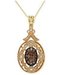 Effy Collection | Metallic Champagne And White Diamond Pendant (3/4 Ct. T.w.) In 14k Gold | Lyst