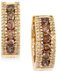 Effy Collection | Metallic Brown And White Diamond Hoop Earrings (9/10 Ct. T.w.) In 14k Gold | Lyst