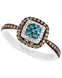 Le Vian | Blue And White Diamond And Diamond Accent Ring In 14k White Gold (3/8 Ct. T.w.) | Lyst
