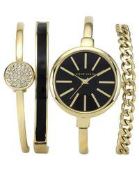 Anne Klein   Multicolor Women's Interchangeable Gold-tone Bangle Bracelets & Watch Set 32mm Ak-1470gbst   Lyst