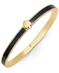 kate spade new york | Black Signature Spade Gold-tone Enamel Bangle Bracelet | Lyst